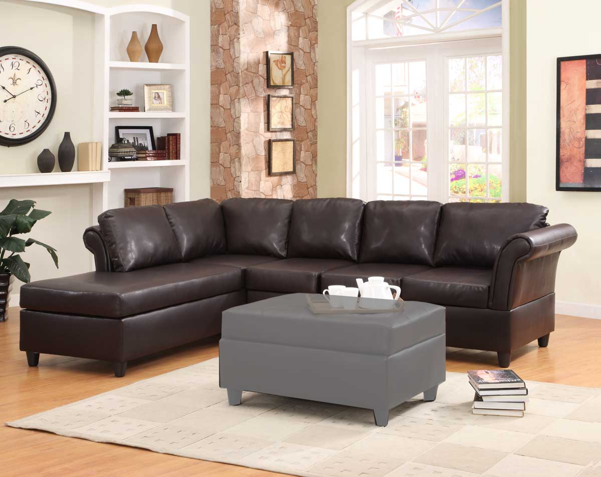 Levan Sectional Sofa - Dark Brown Bi-Cast - Homelegance