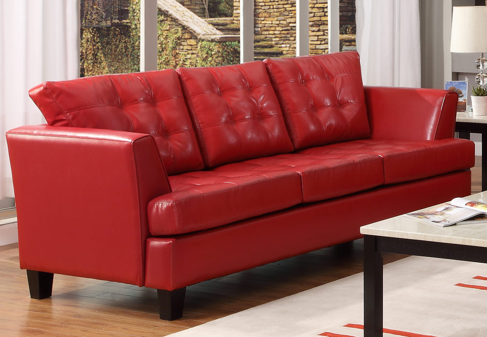 Della All Bonded Leather Sofa - Red - Homelegance