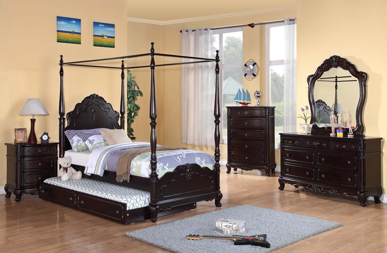 Homelegance Cinderella Poster Bedroom Set Dark Cherry