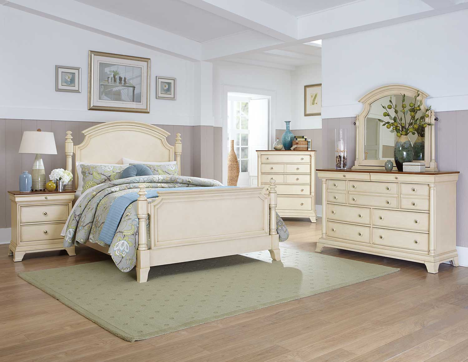 Homelegance inglewood ii bedroom set white b1402w bed set at Cream wooden furniture