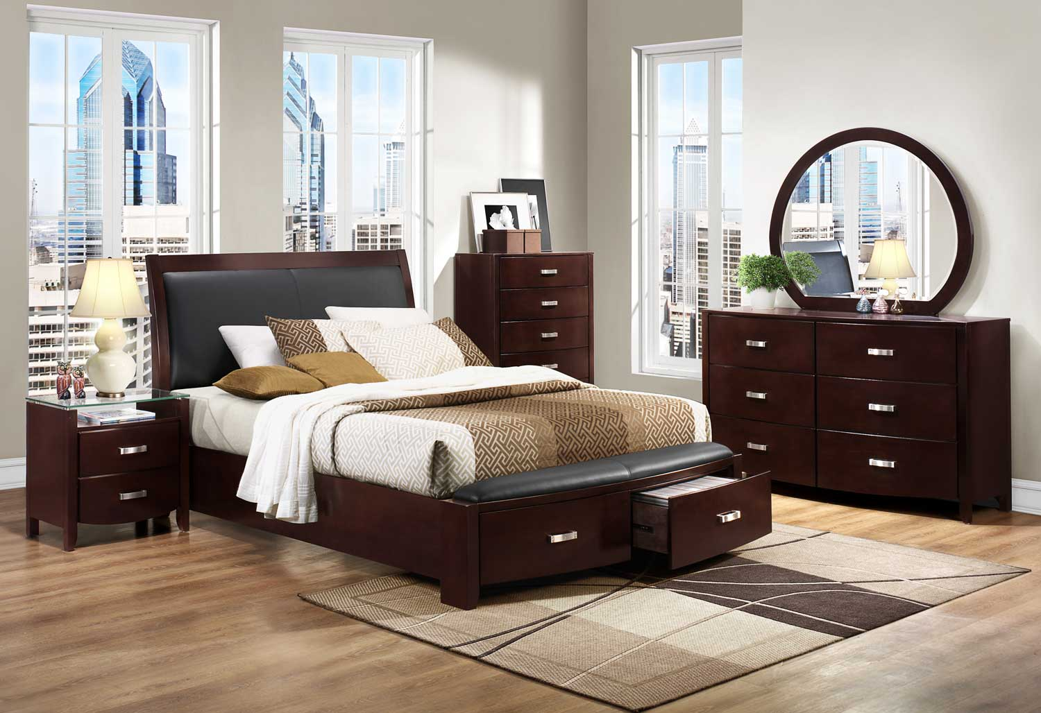 Homelegance lyric platform bedroom set dark espresso for Bed set queen furniture