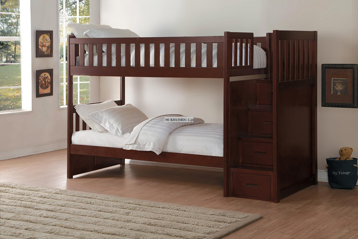Homelegance Rowe Twin over Twin Bunk Bed with Step Storage - Dark Cherry