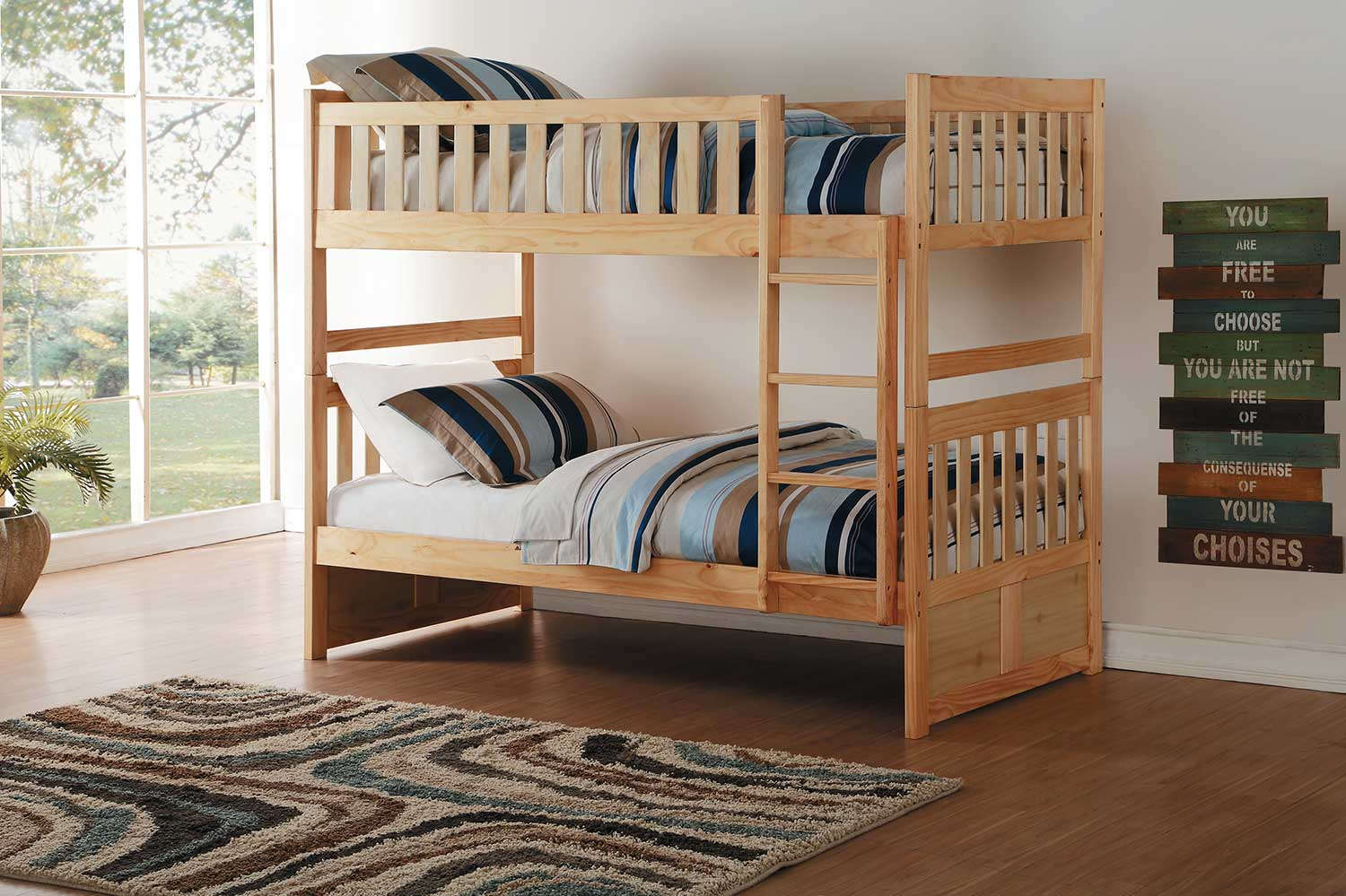 Baby jasper bed brackets - Homelegance Bartly Twin Over Twin Bunk Bed Natural Pine