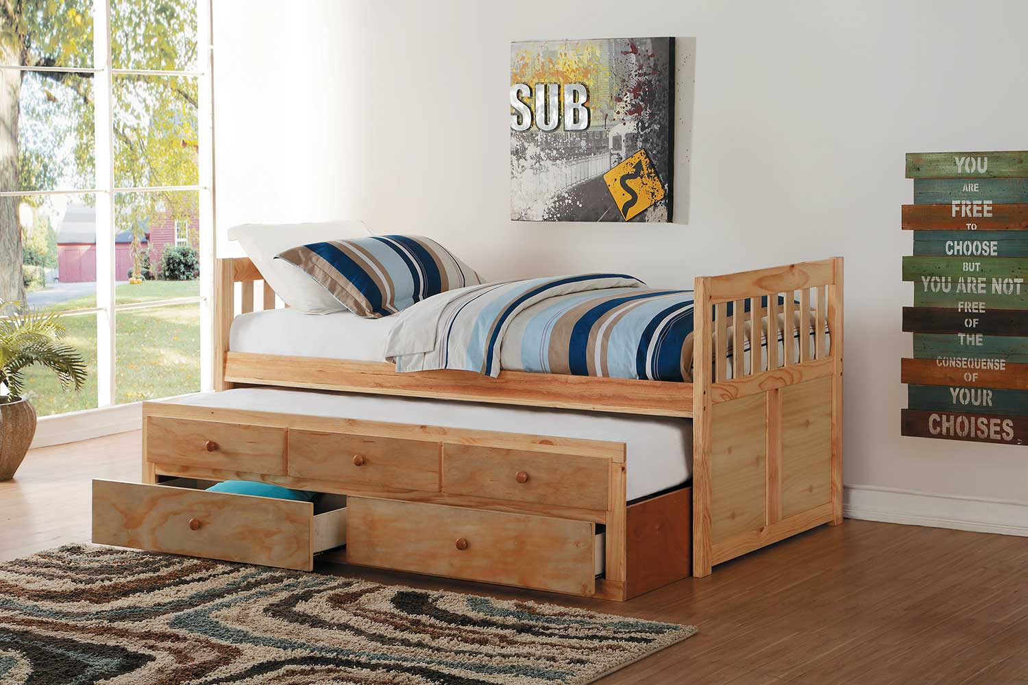 Homelegance Bartly Twin Bed with Trundle and Two Storage Drawers - Natural Pine