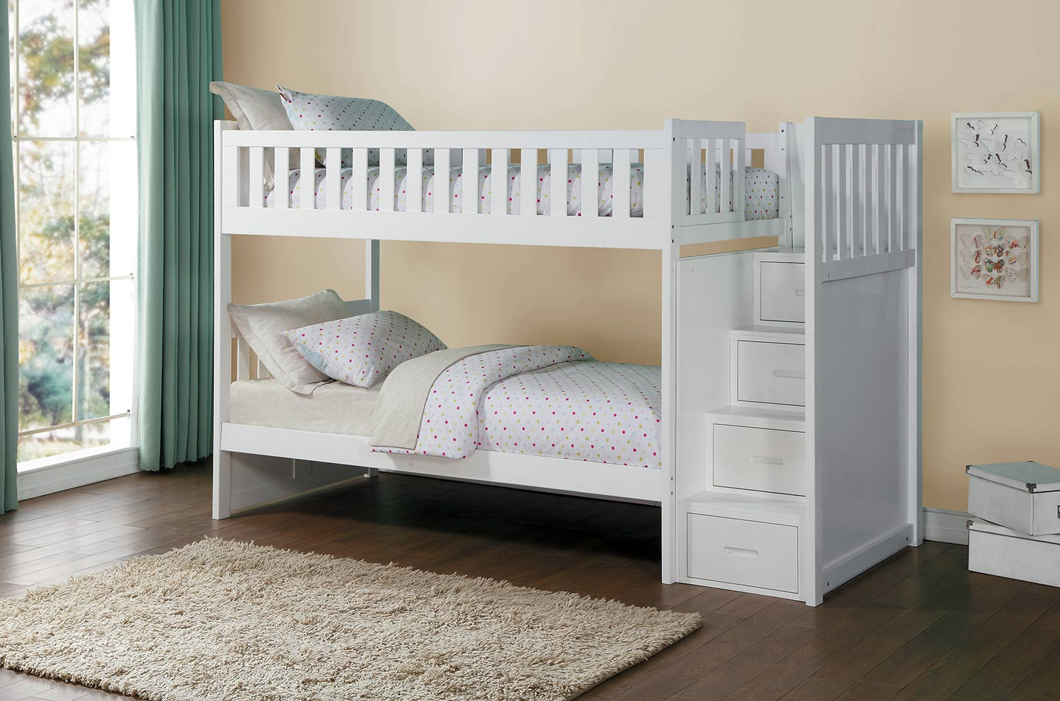 homelegance galen twin over twin bunk bed with step storage white b2053sbw 1 at. Black Bedroom Furniture Sets. Home Design Ideas