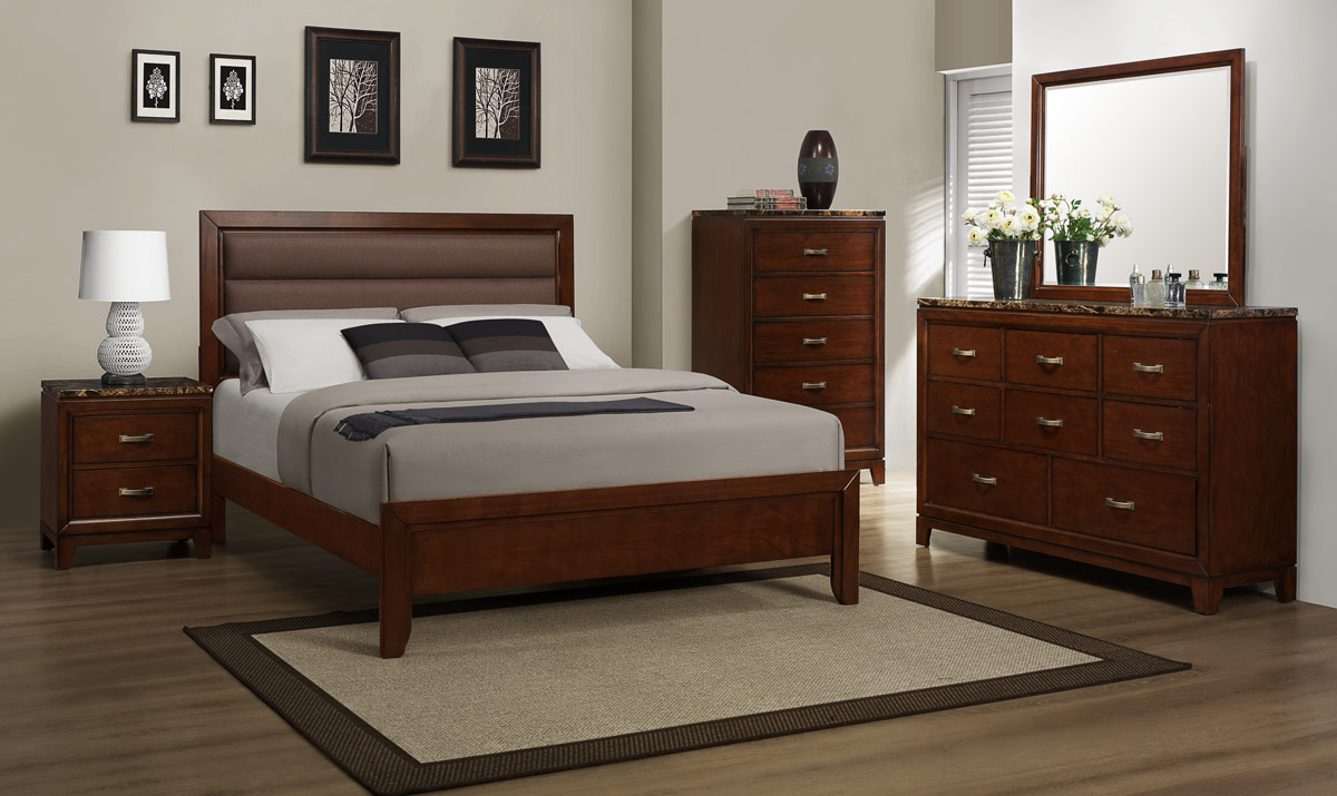 Homelegance Ottowa Bedroom Set - Brown Upholstery