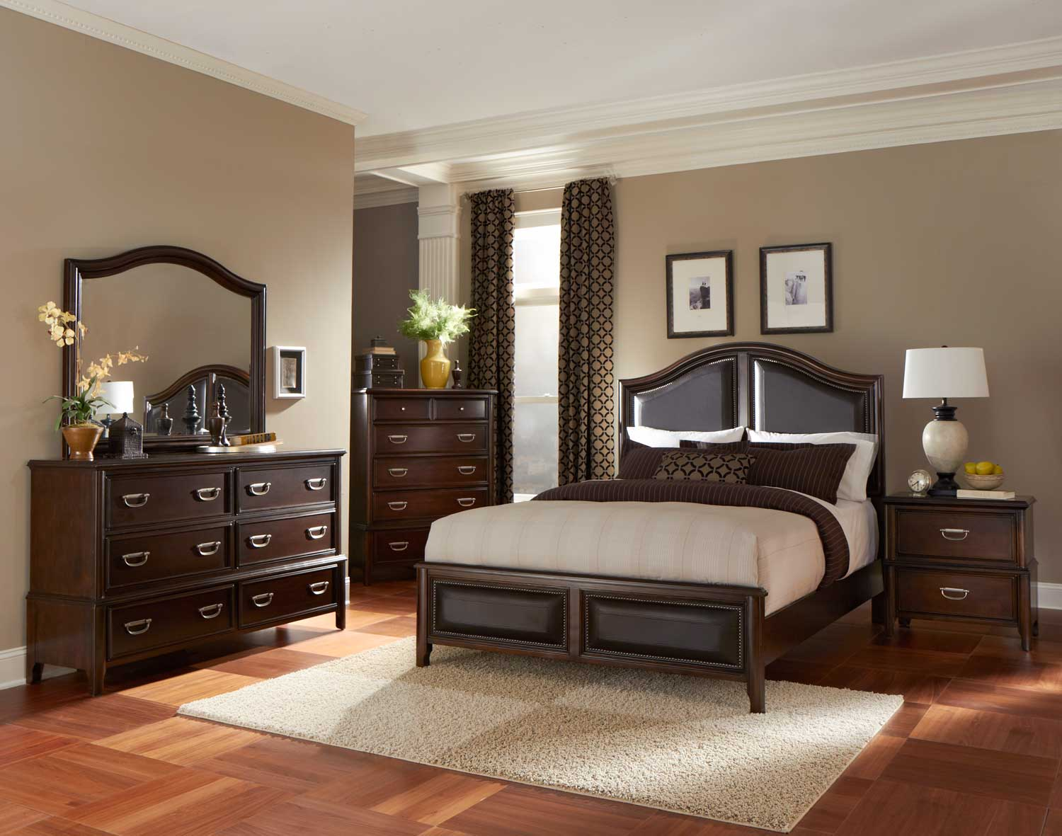 Homelegance Beaux Low Profile Bedroom Set with Vinyl Insert - Dark Cherry