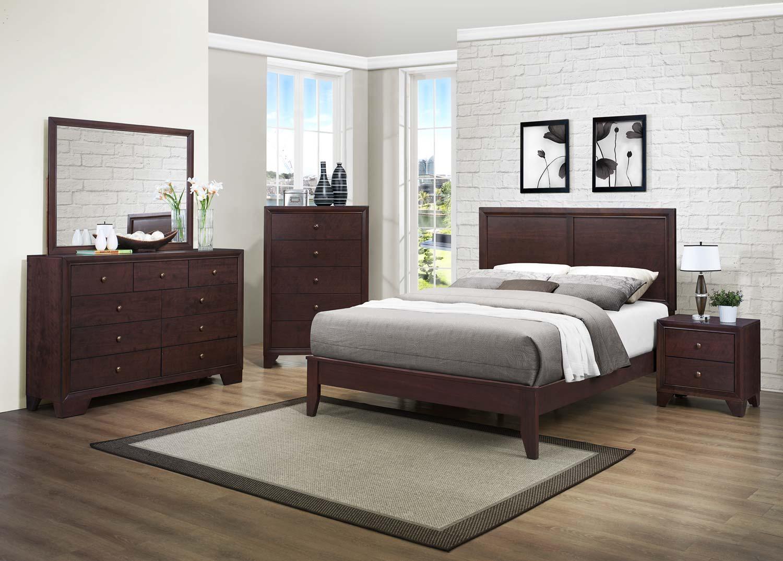 Homelegance Kari Bedroom Set - Warm Brown Cherry