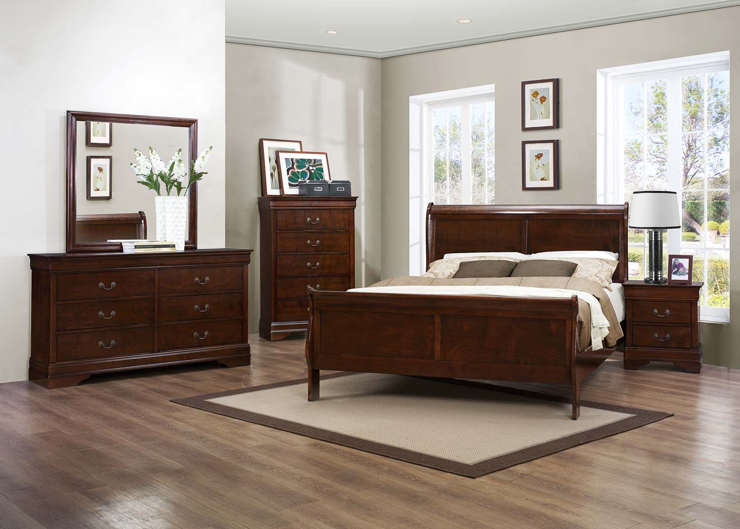 Homelegance Mayville Bedroom Set - Burnished Brown Cherry