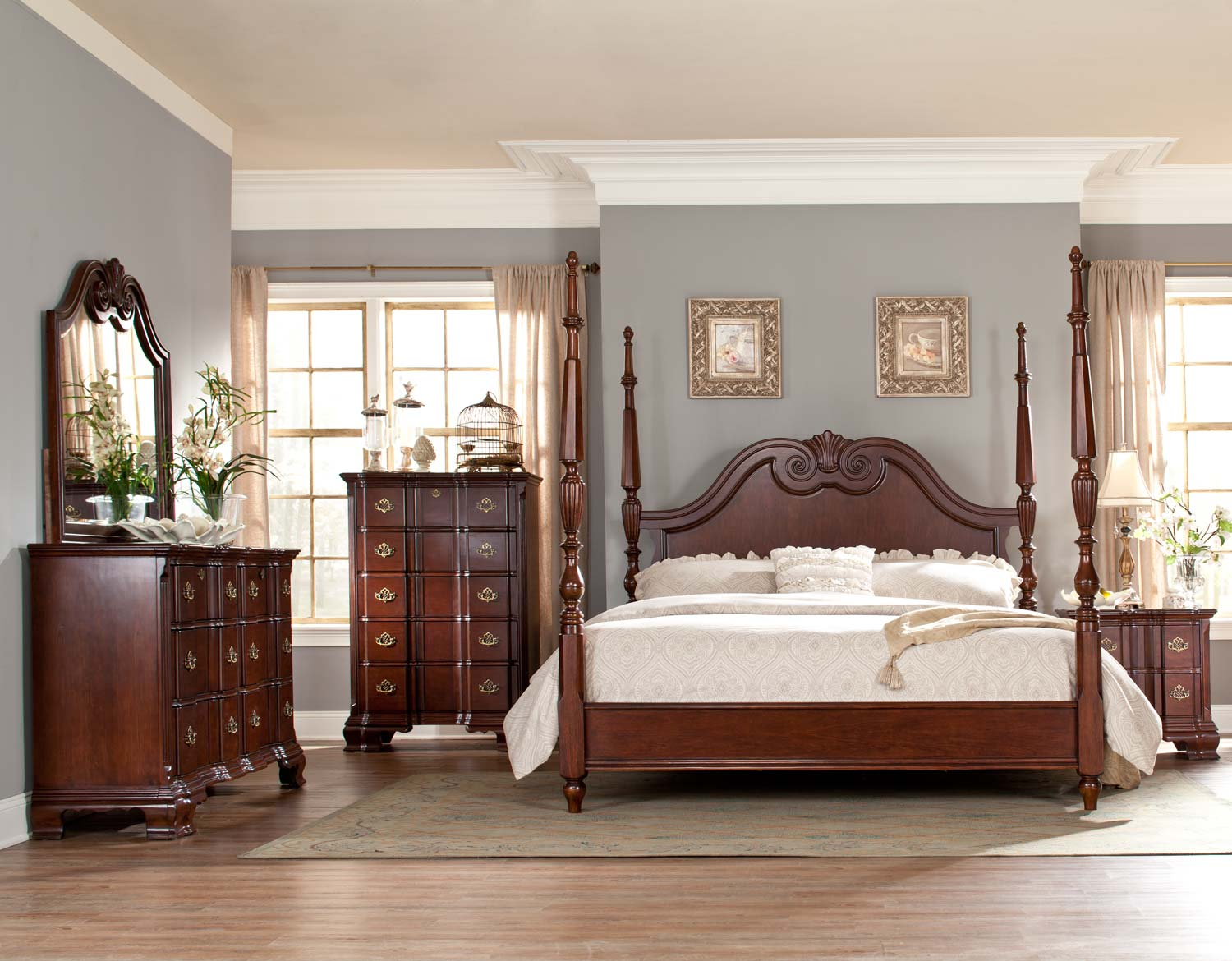Homelegance Guilford Tall Poster Bedroom Set - Brown Cherry