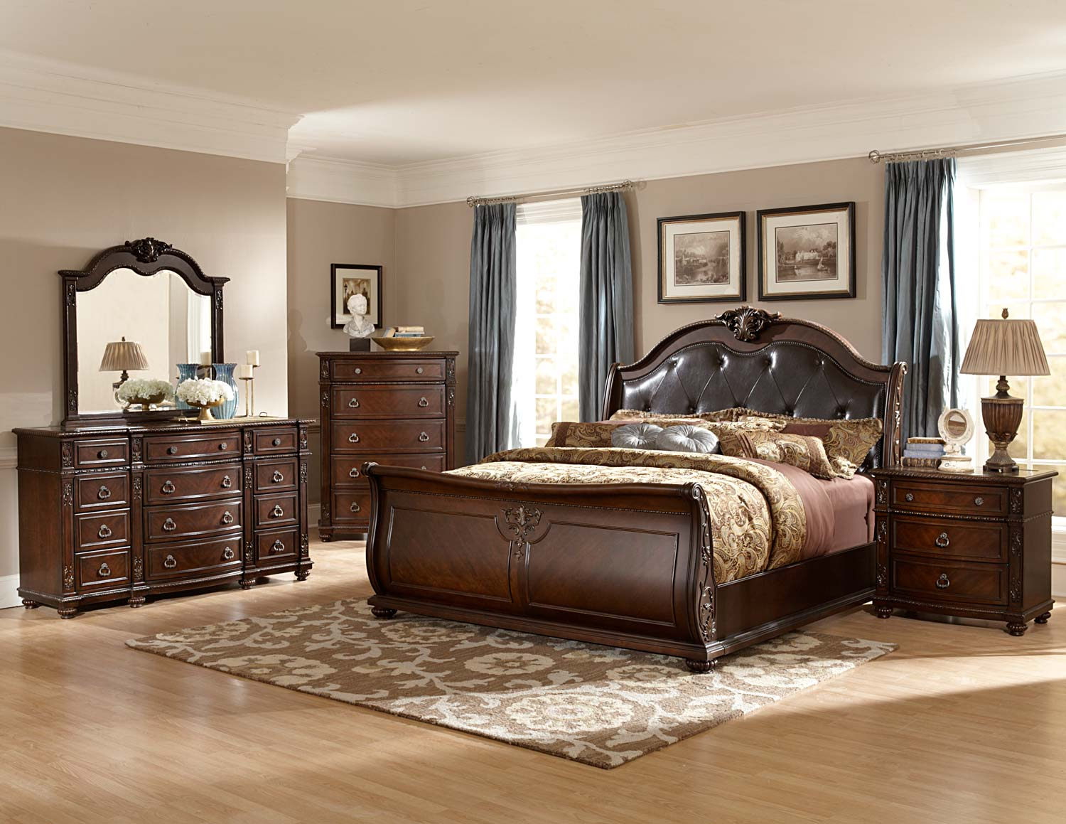 Homelegance hillcrest manor sleigh bedroom set cherry for Bedroom designs with sleigh beds