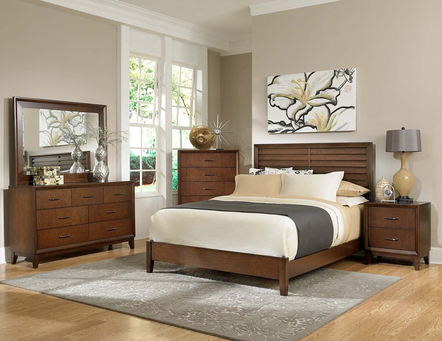Homelegance Oliver Bedroom Set - Warm Brown Cherry