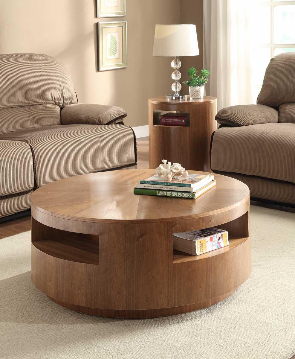 Homelegance Aquinnan Round Coffee Table Set  Natural