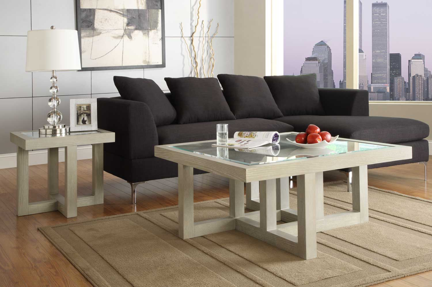 Homelegance Guerrero Square Coffee Table Set - Grey & Homelegance Guerrero Square Coffee Table Set - Grey C3444-01 at ...