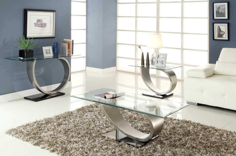Homelegance Silvera Cocktail Table Set - Brushed Chrome