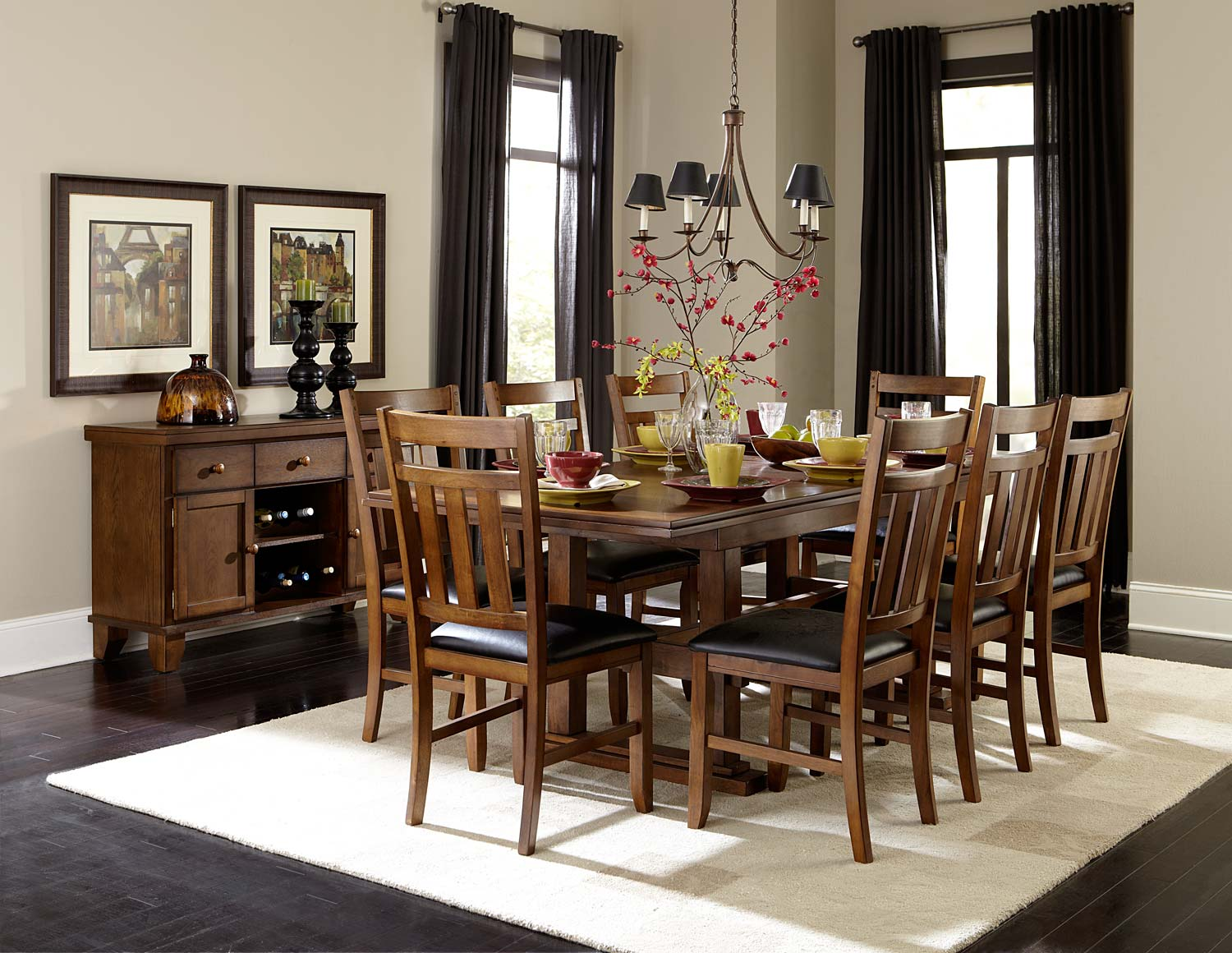 Homelegance Kirtland Dining Set - Warm Oak