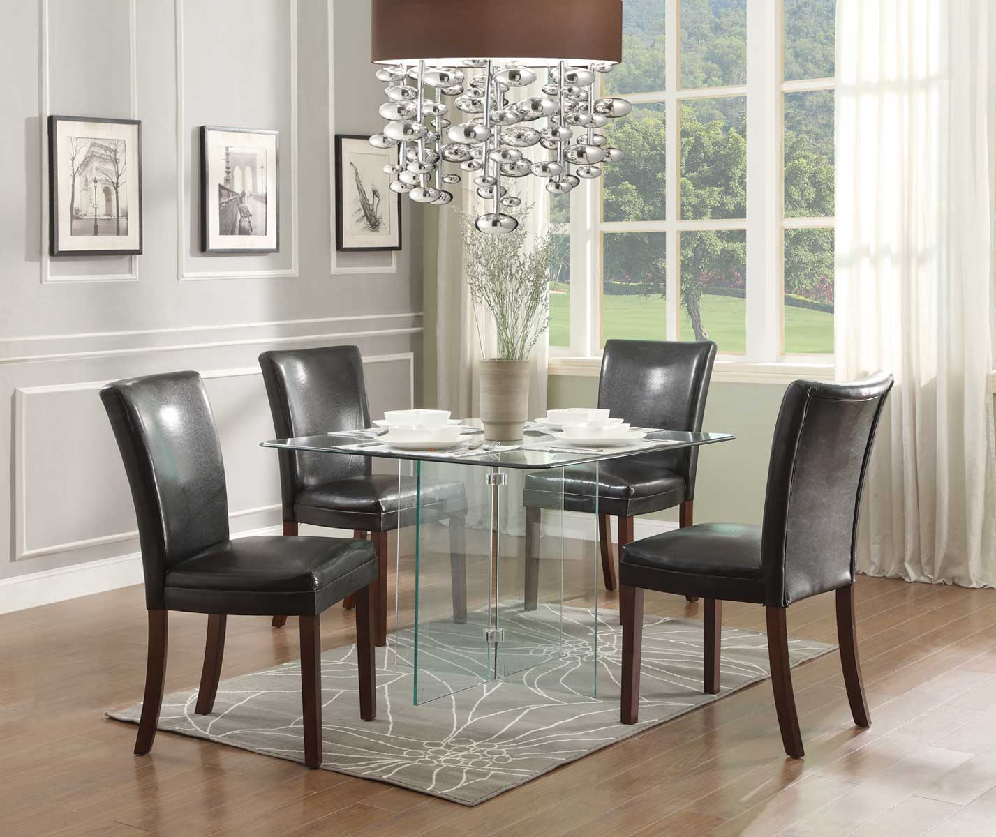 Homelegance Alouette Square Glass Dining Set