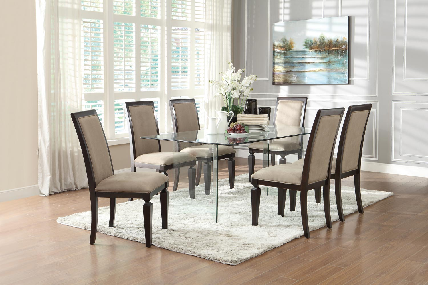 Homelegance Alouette Rectangle Glass Dining Set