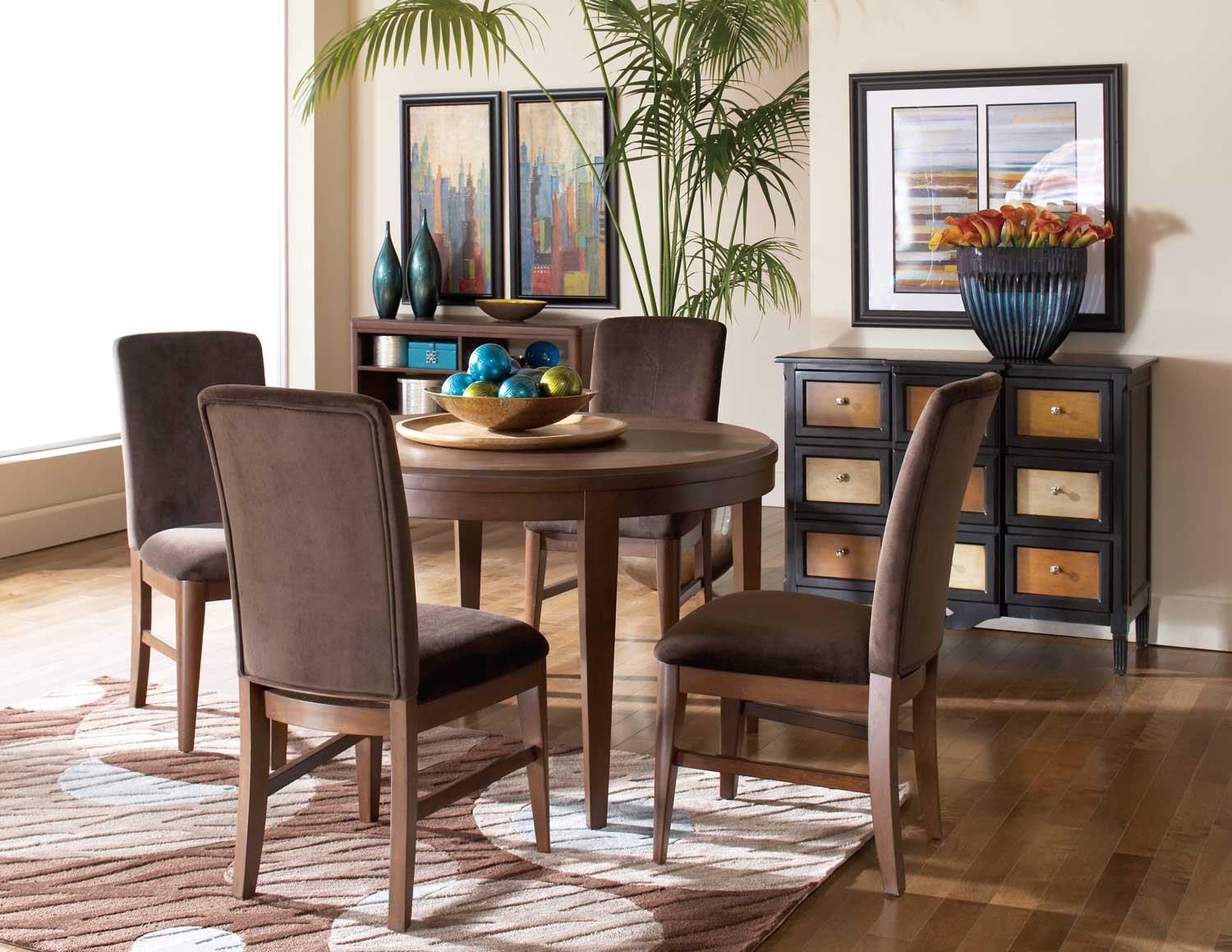 Homelegance Beaumont Round Dining Set - Brown Cherry