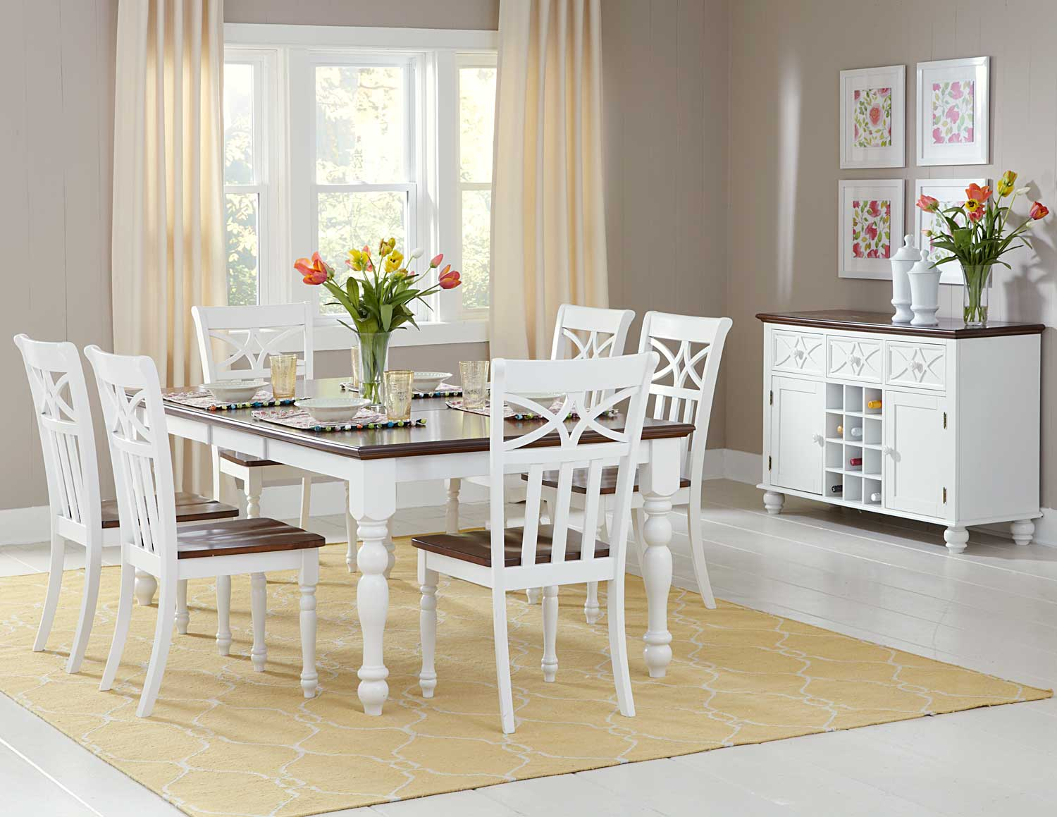 Homelegance sanibel dining set cherry white d2119w 78 for Beautiful white dining rooms