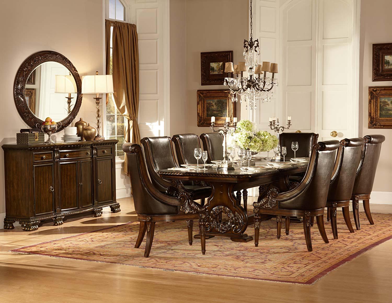 Homelegance Orleans Trestle Dining Set - Cherry D2168-108-DIN-SET at ...
