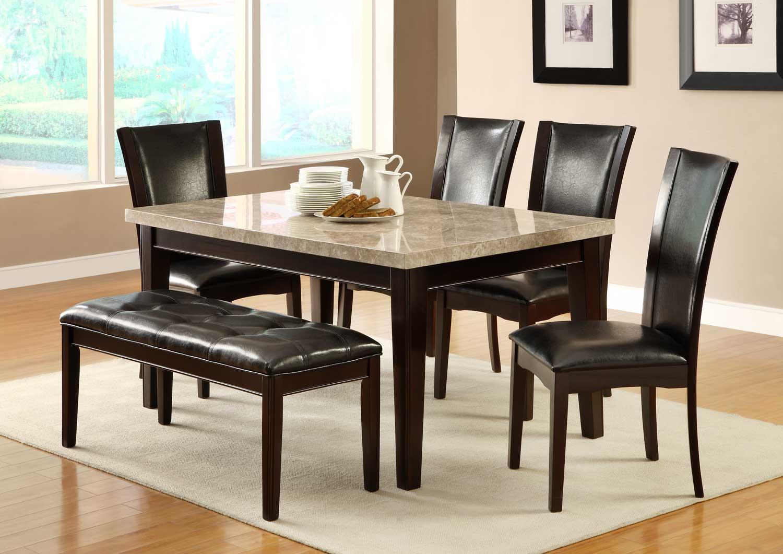 Homelegance Hahn Dining Set - Ivory Marble Top/Dark Brown