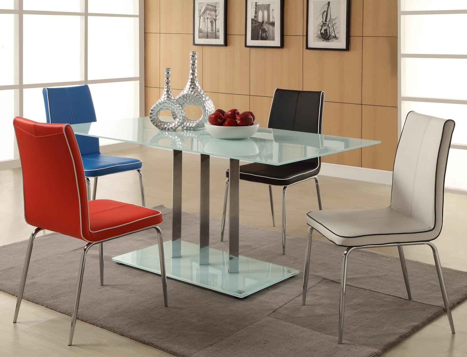 Homelegance Goran Glass Top Dining Set 2 - Frosted Glass/Chrome