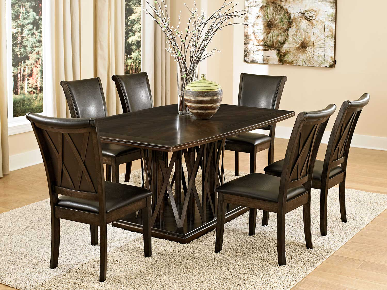 Homelegance Garvey Dining Set with Dark Brown Chairs