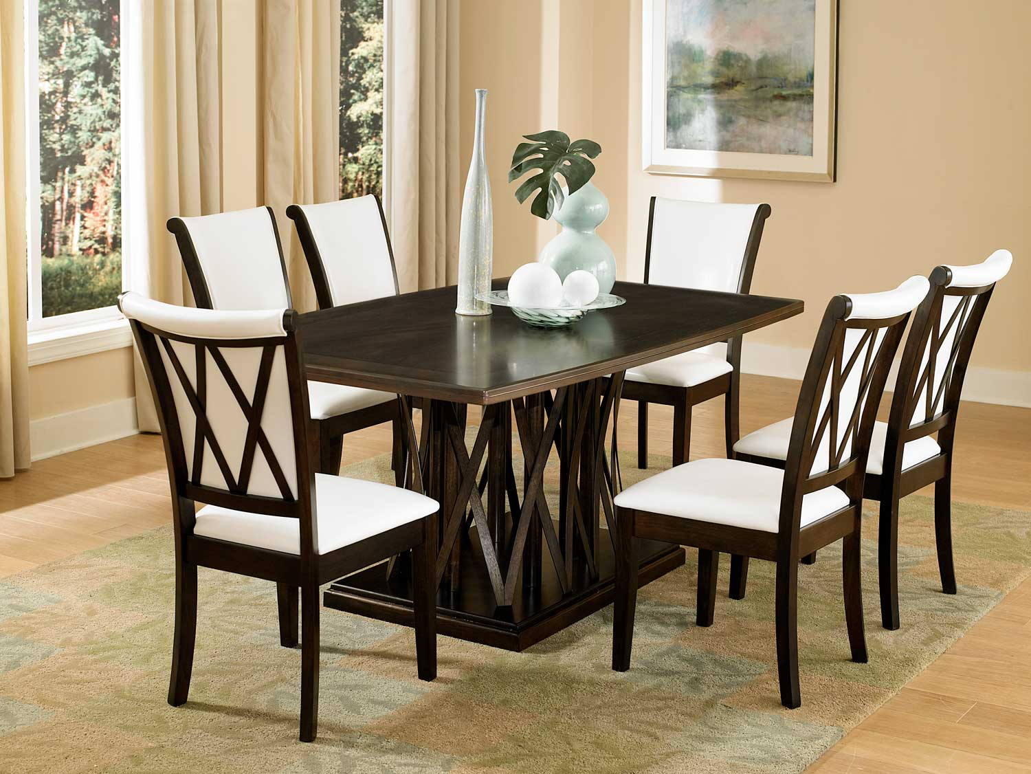 Homelegance Garvey Dining Set with White Chairs