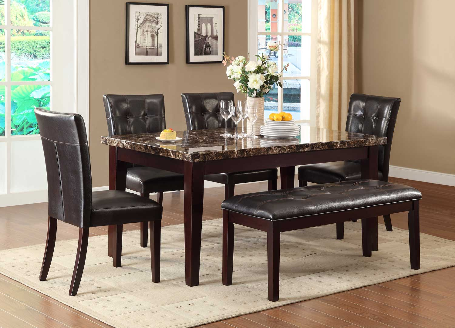Homelegance Teague Faux Marble Dining Set - Espresso
