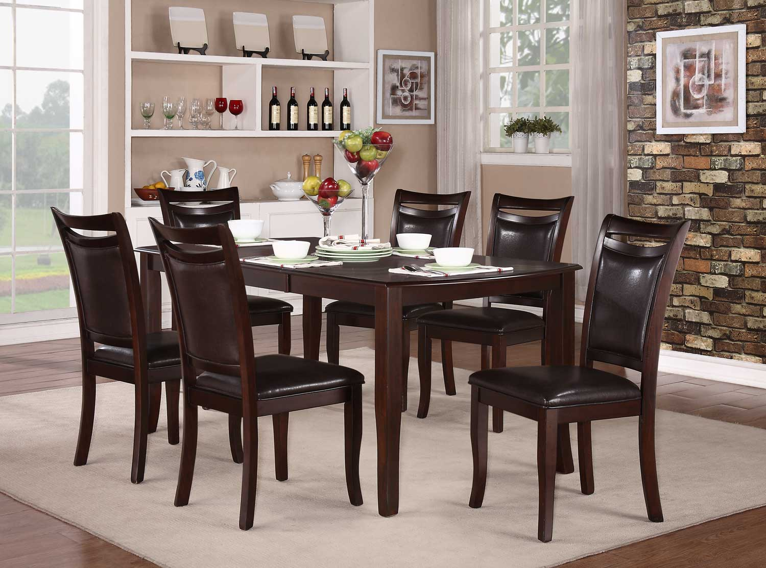 Homelegance Maeve Dining Set - Dark Cherry