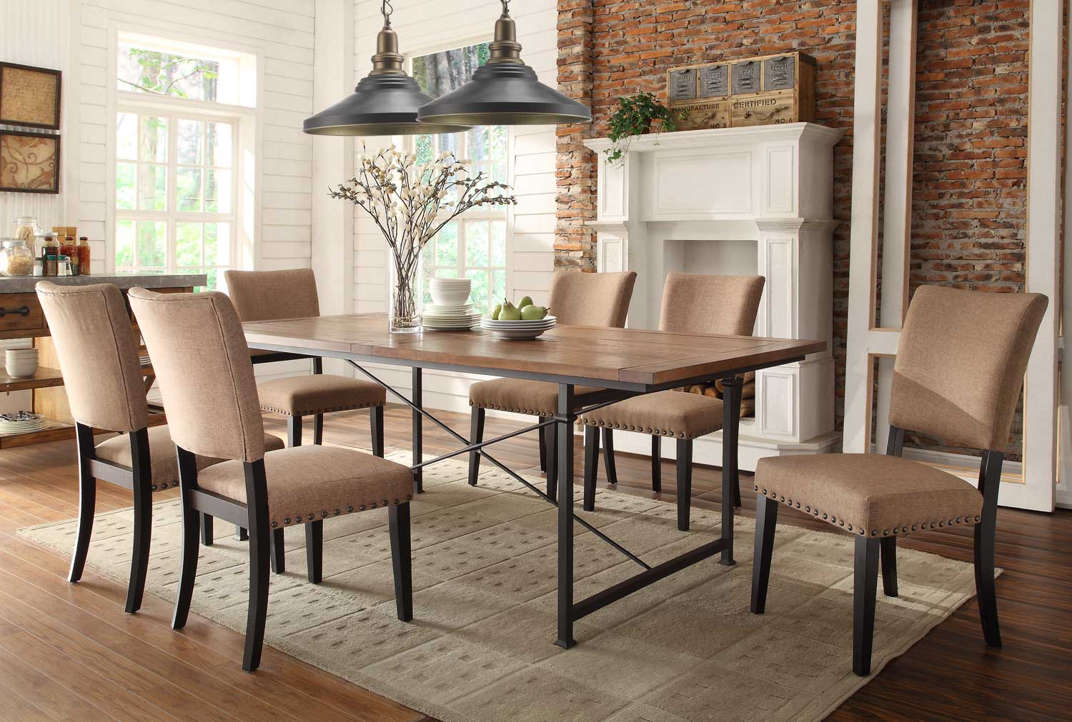 Homelegance Derry Dining Set - Rustic Oak