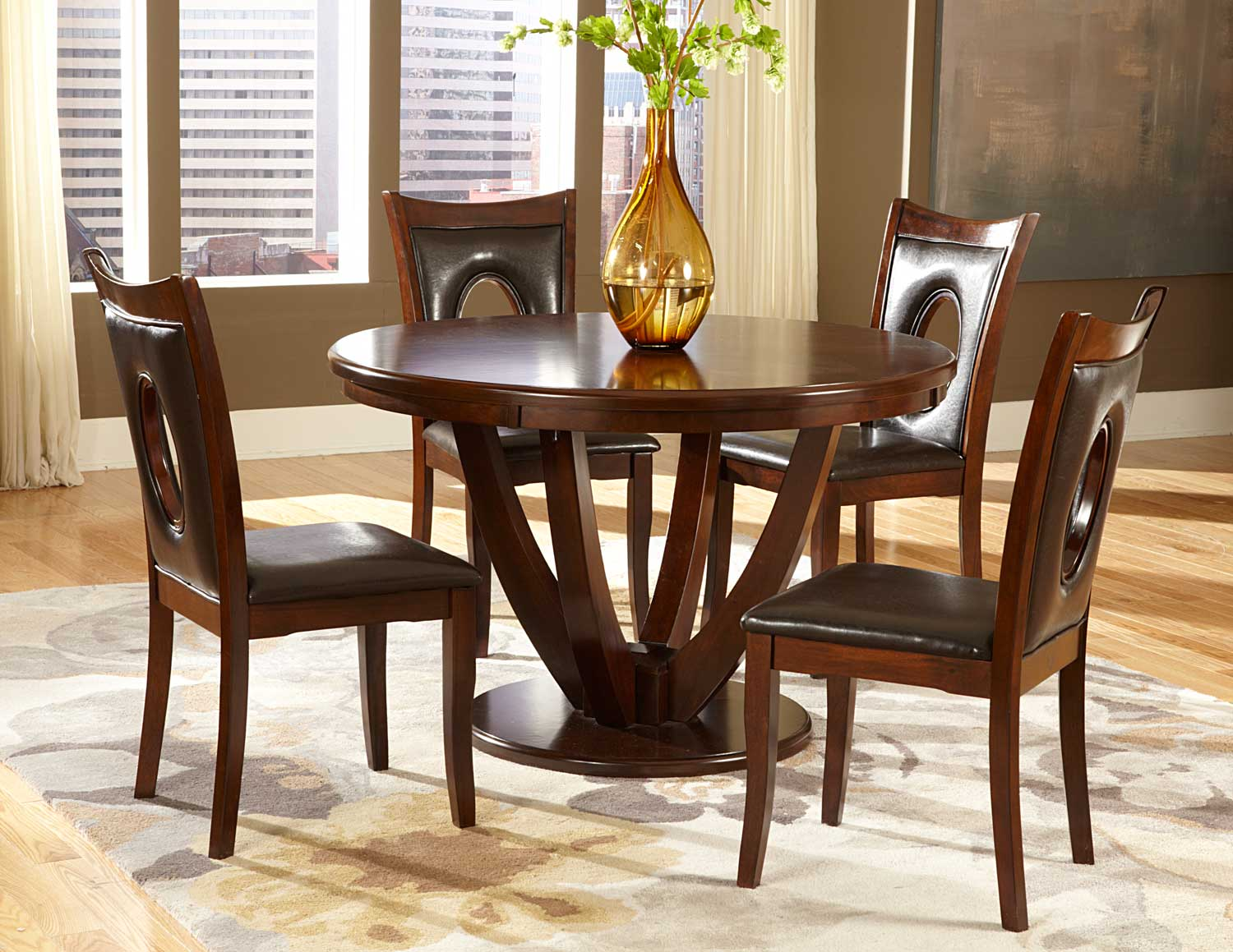 Homelegance Vanbure Round Dining Set Cherry D2568 48 At