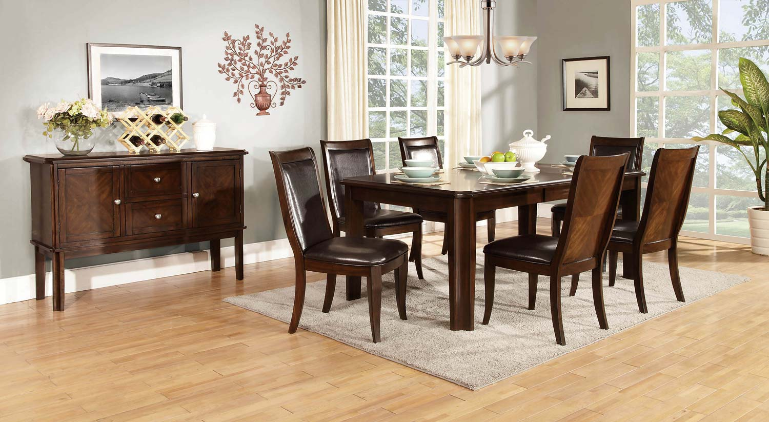 Homelegance Wolfe Dining Set - Medium Brown