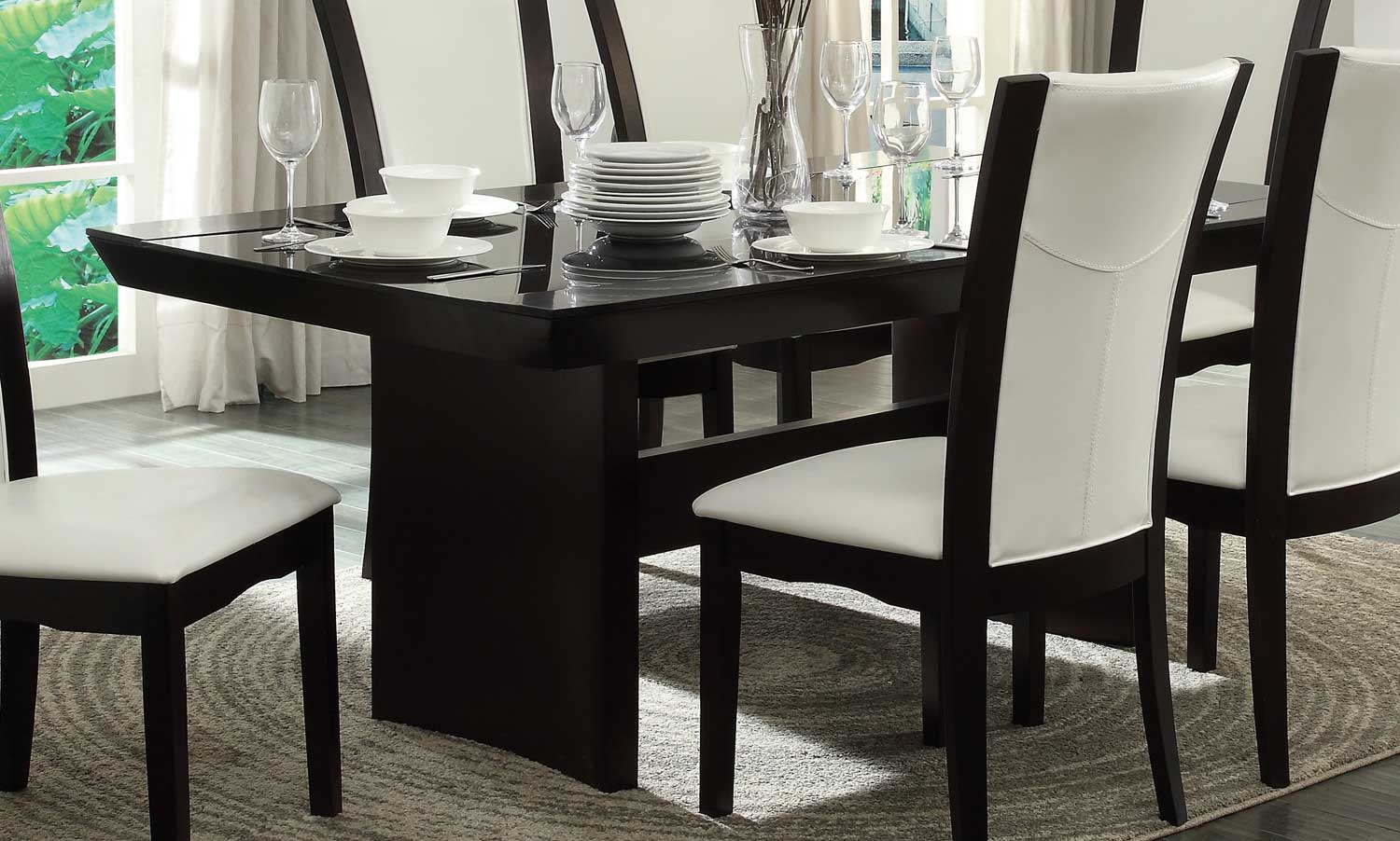 Homelegance Daisy Dining Table with Glass Insert Espresso 71072TR