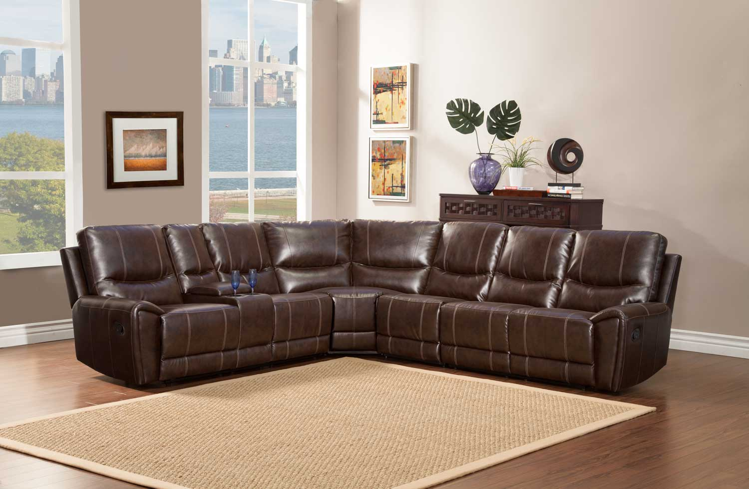 Homelegance Gerald Sectional Sofa Set Brown Bonded Leather Match