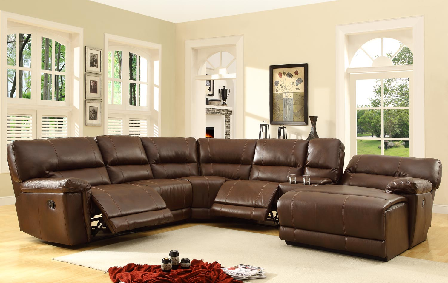 Homelegance Blythe Sectional Sofa Set - Brown - Bonded Leather