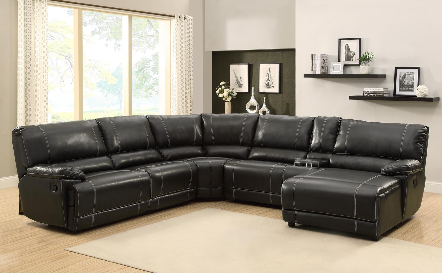 Homelegance cale sectional sofa set black bonded for Leather sofa set