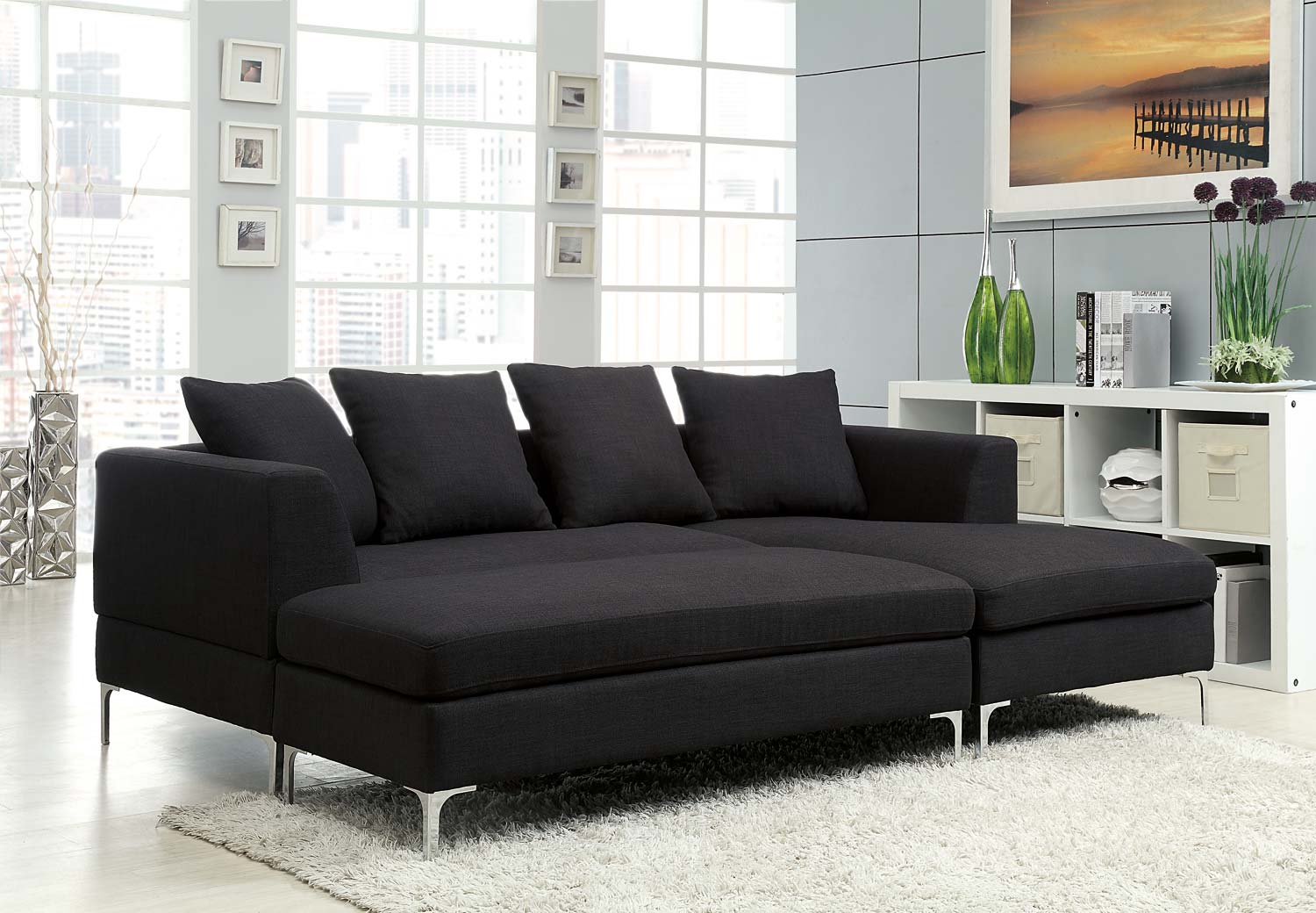 Homelegance zola sectional sofa set black linen like for Black fabric couches