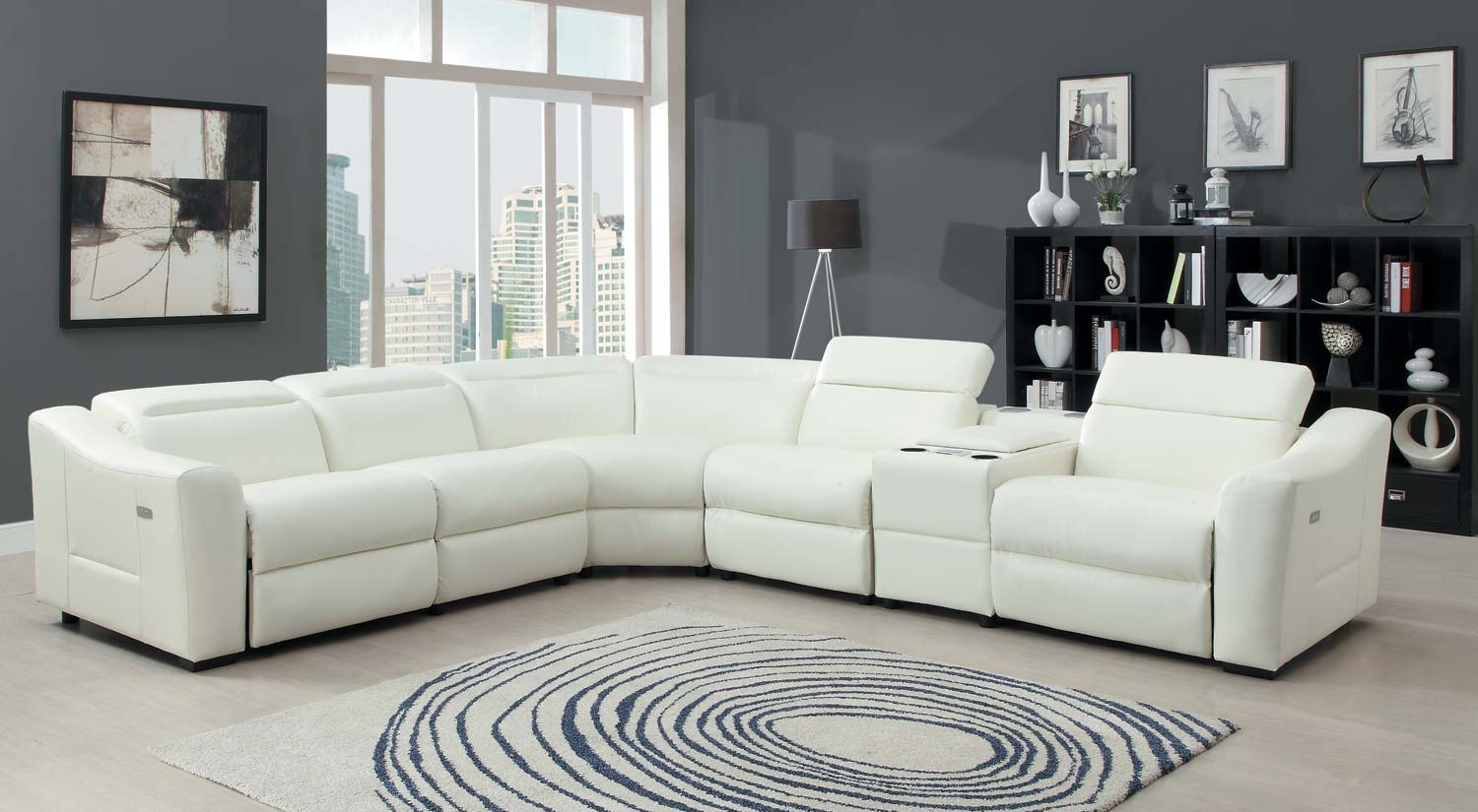Homelegance Instrumental Sectional Sofa Set White