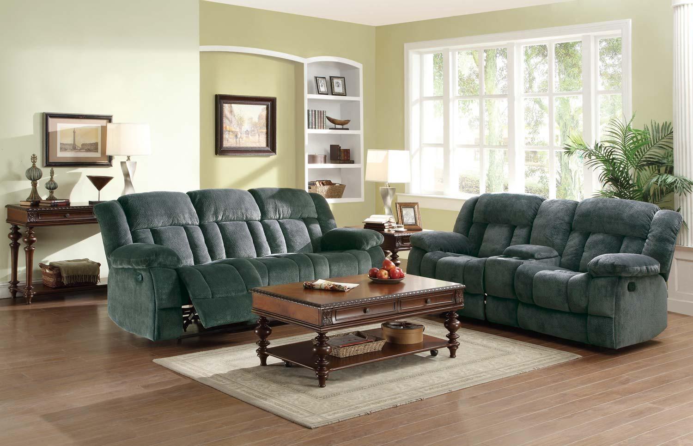Homelegance Laurelton Reclining Sofa Set - Charcoal - Textured Plush Microfiber