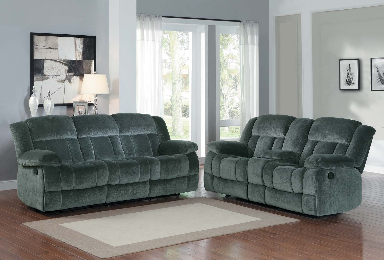 Stylish Homelegance UCC Laurelton Reclining Sofa Set Charcoal Textured Plush Microfiber Product Photo
