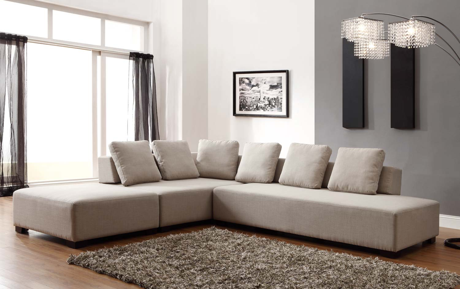 Ultimate Homelegance UBE Transformation Configurable Modular Sofa Set Beige Linen Product Photo