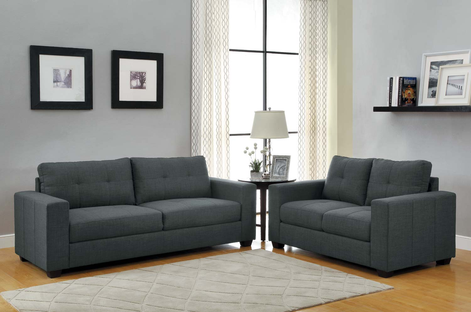 homelegance ashmont sofa set dark grey linen u9639 3. Black Bedroom Furniture Sets. Home Design Ideas