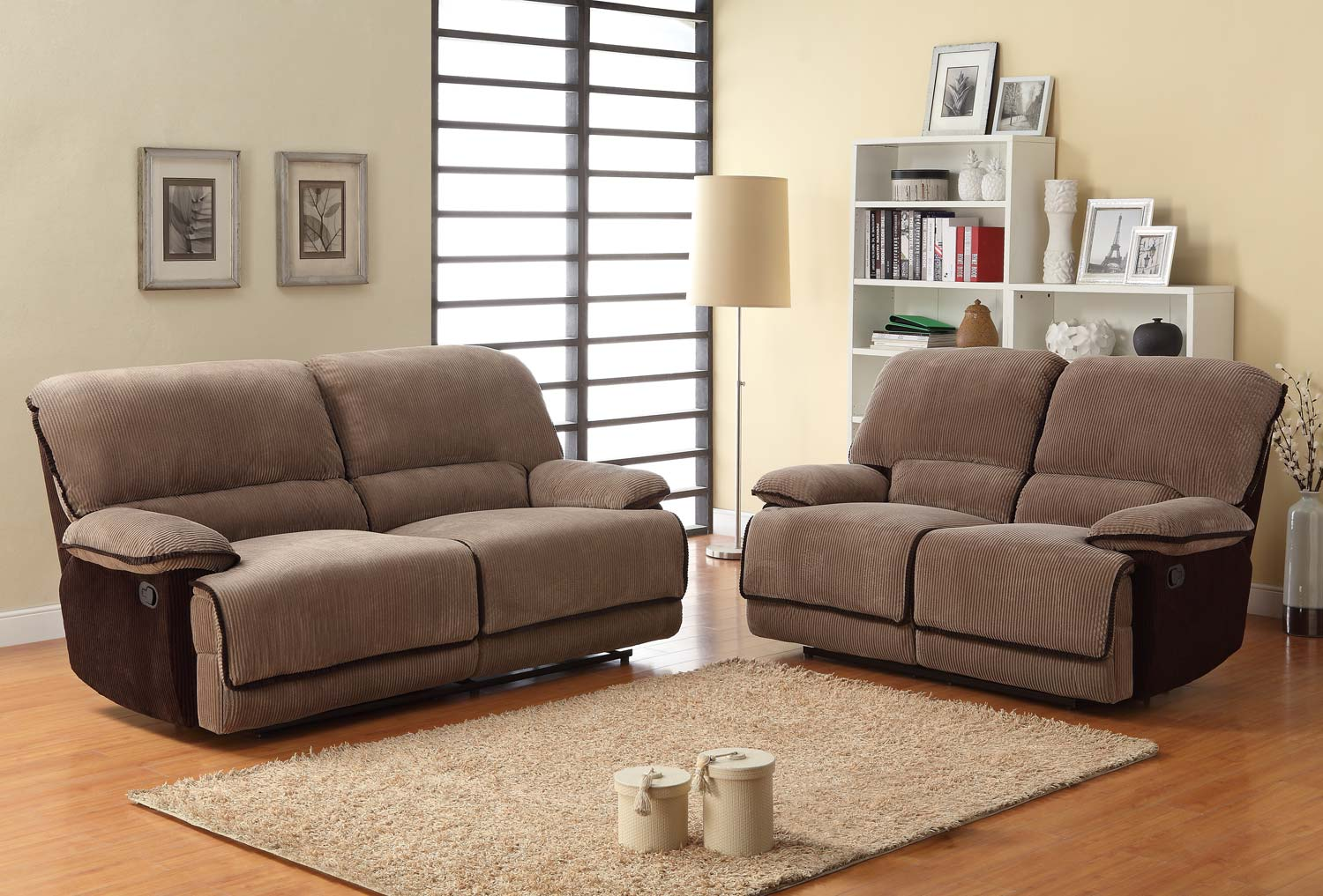Homelegance Grantham Reclining Sofa Set - Brown - Corduroy U9717-3