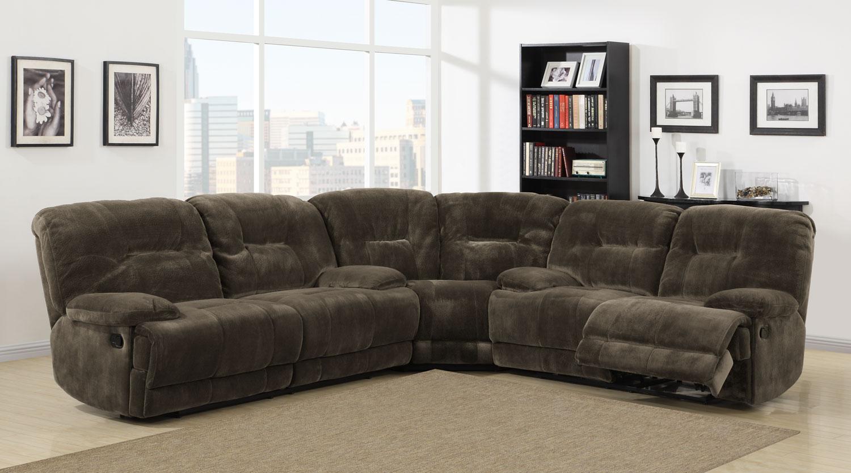 Homelegance Furniture Geoffrey Reclining Sectional Sofa Set Chocolate Textured Plush Microfiber U SECT p