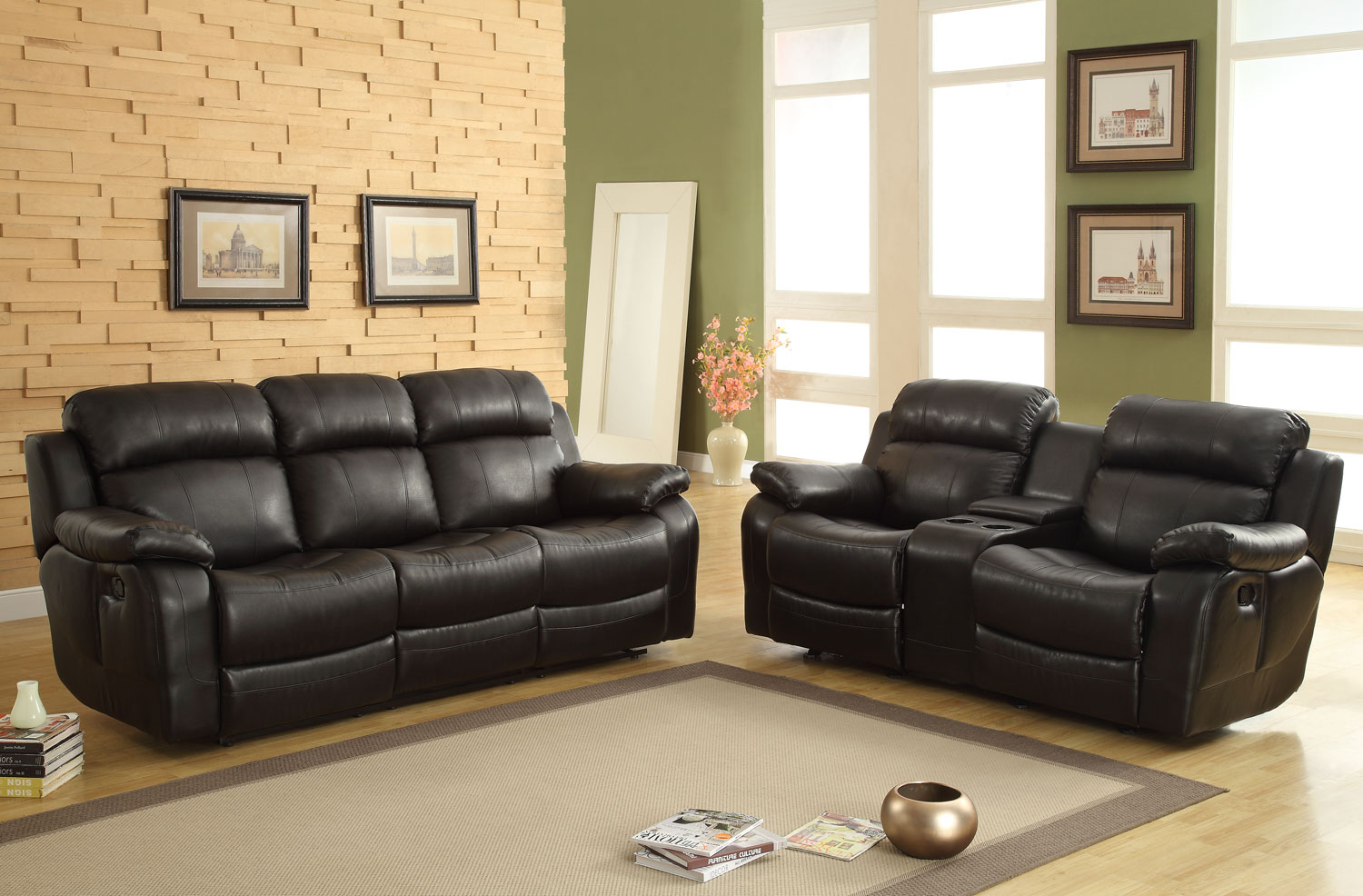 Swell Homelegance Marille Reclining Sofa Set Black Bonded Leather Match Pabps2019 Chair Design Images Pabps2019Com