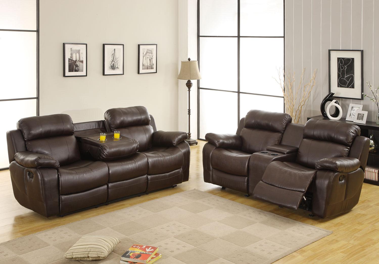 Homelegance Marille Reclining Sofa Set Dark Brown Bonded Leather Match U9724brw 3 At