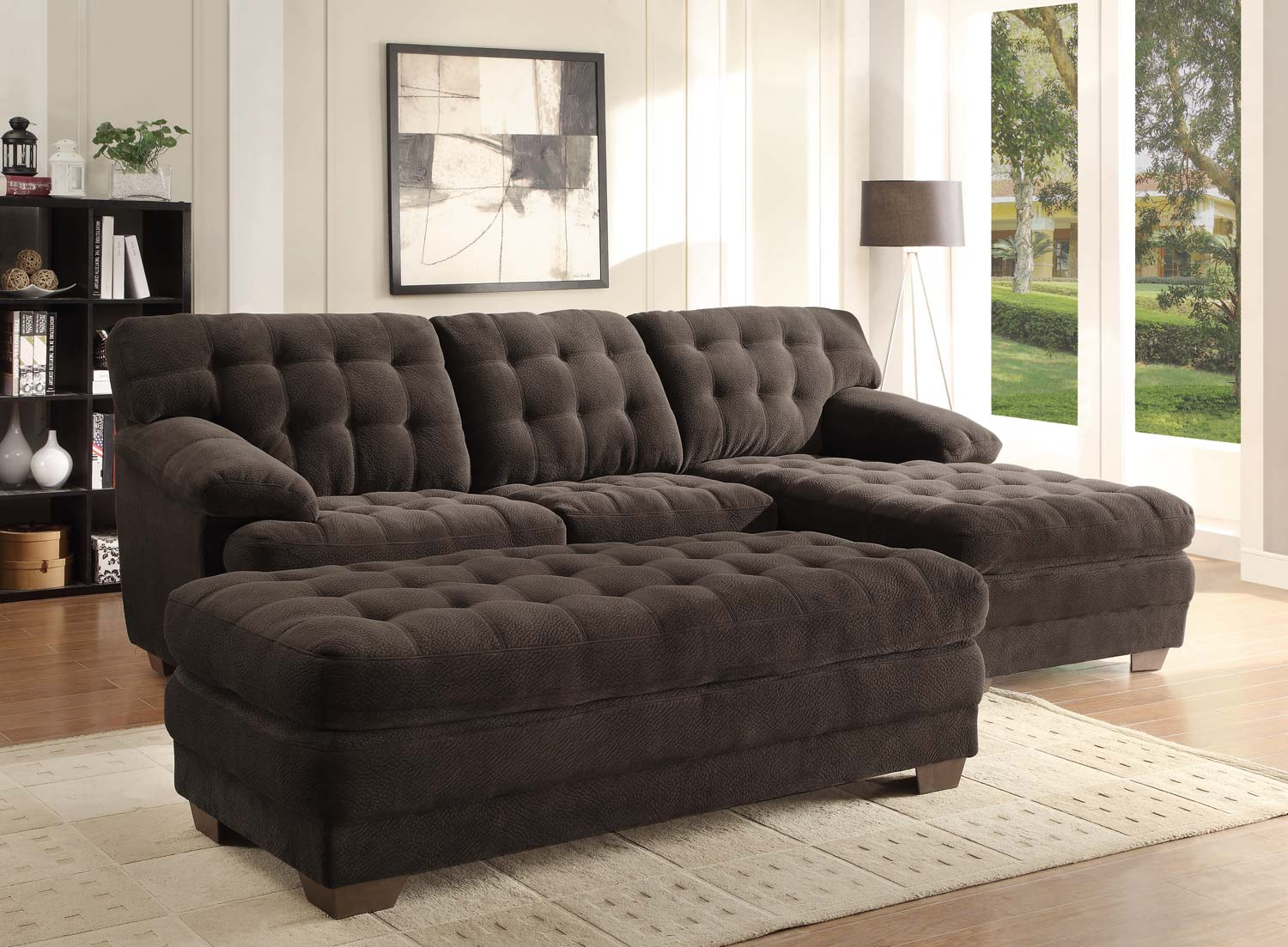 Homelegance brooks sectional sofa set chocolate for Brown microfiber chaise lounge