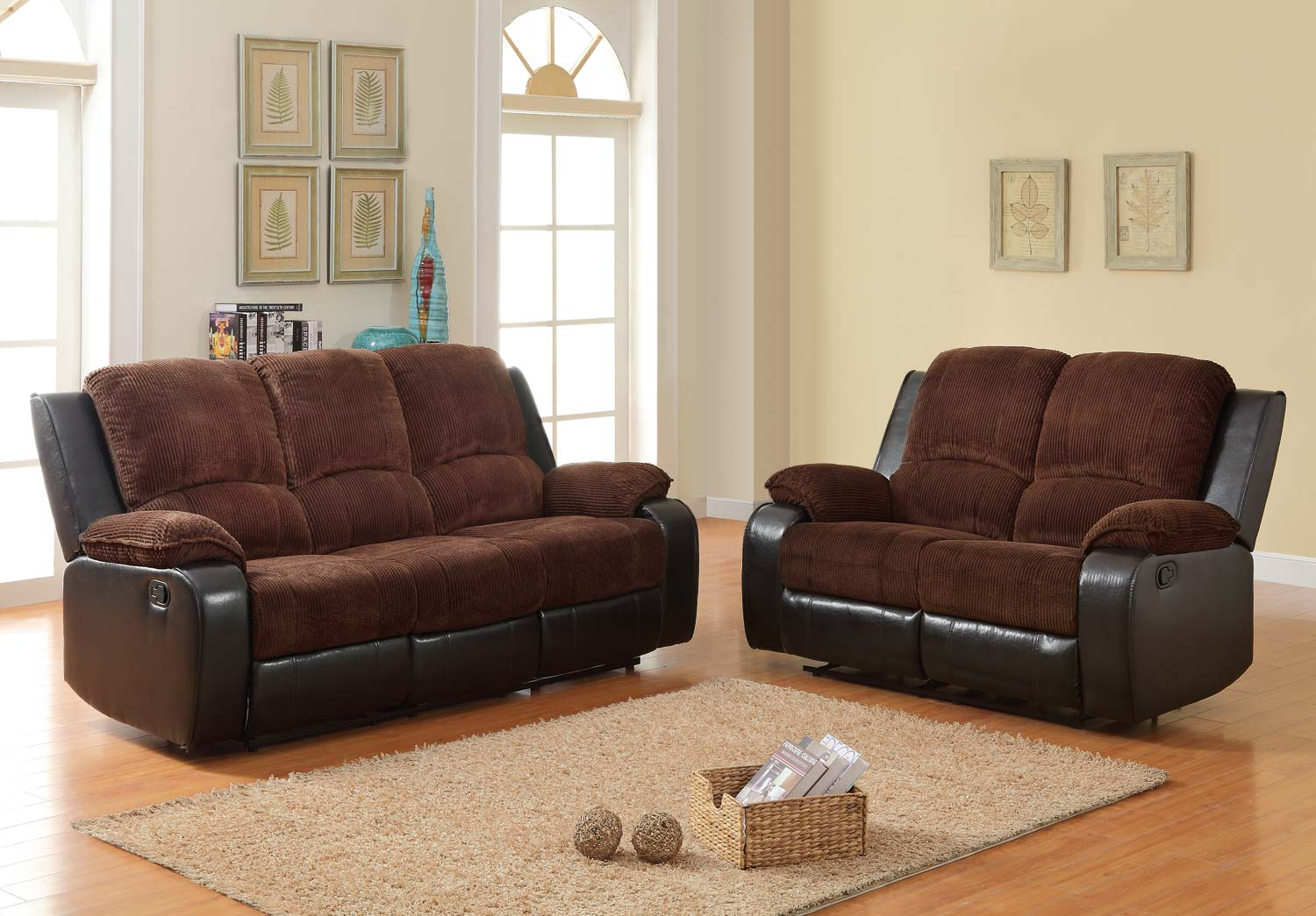 Homelegance bunker reclining sofa set chocolate for Brown corduroy couch